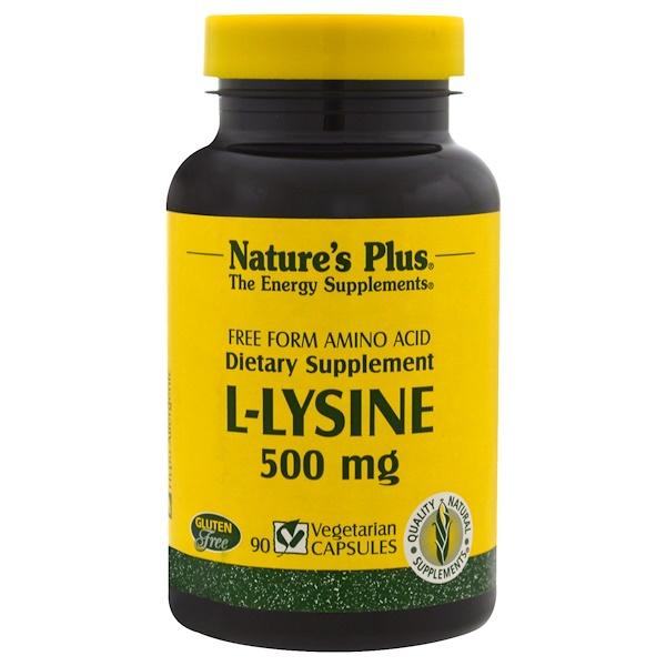 Nature's Plus, L-賴氨酸,500毫克,90粒植物膠囊