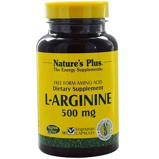 Nature's Plus, L-аргинин, 500 мг, 90 вегетарианских капсул