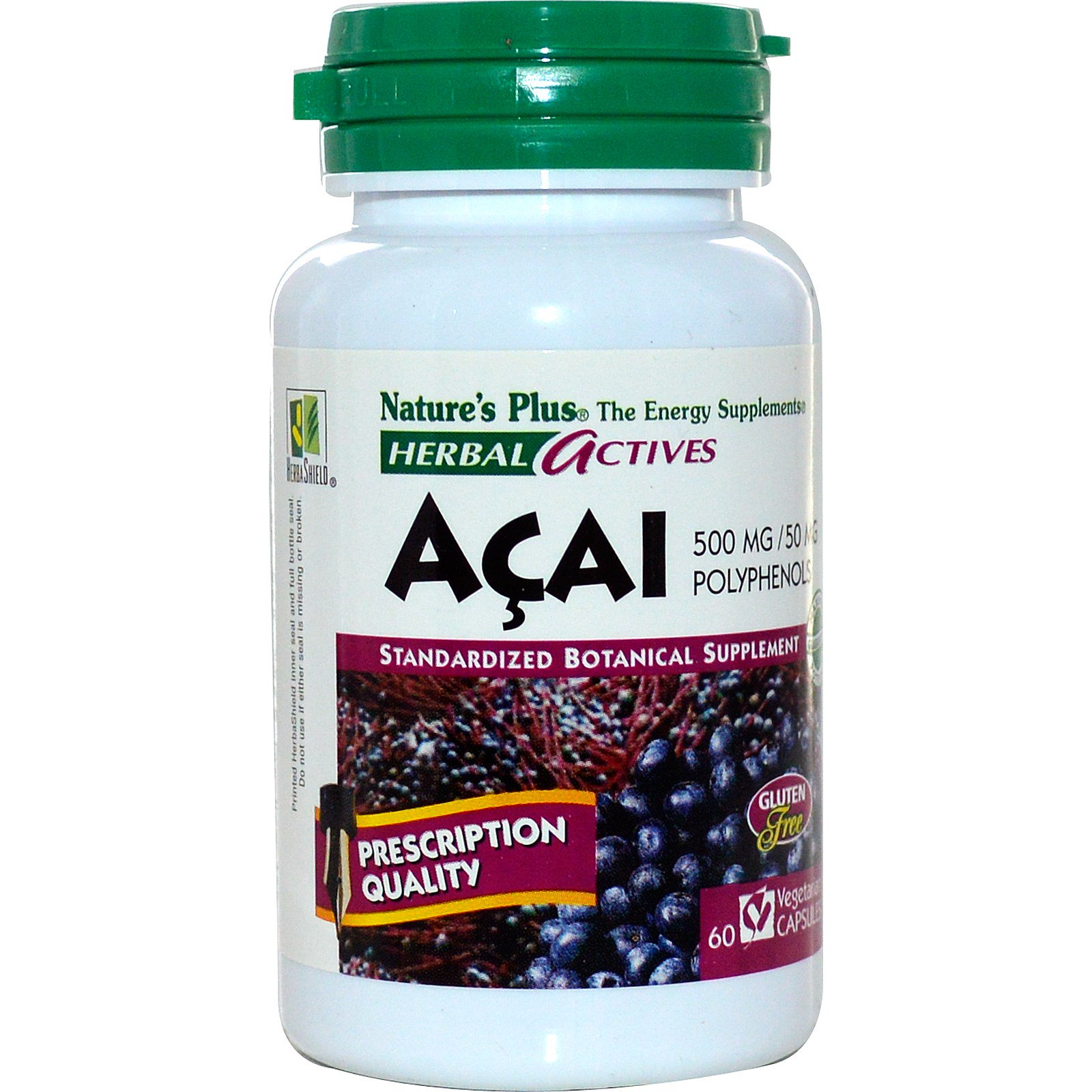 Nature's Plus, Herbal Actives, Acai, 500 mg, 60 Veggie Caps (Discontinued Item)