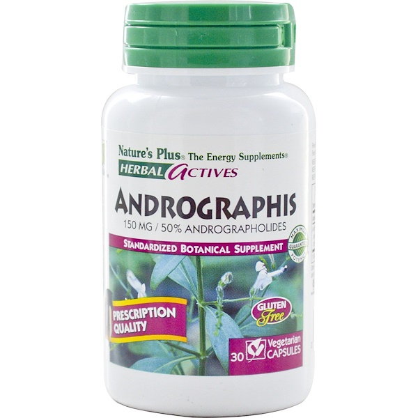Nature's Plus, Herbal Actives, Andrographis, 150 mg, 30 Veggie Caps (Discontinued Item)
