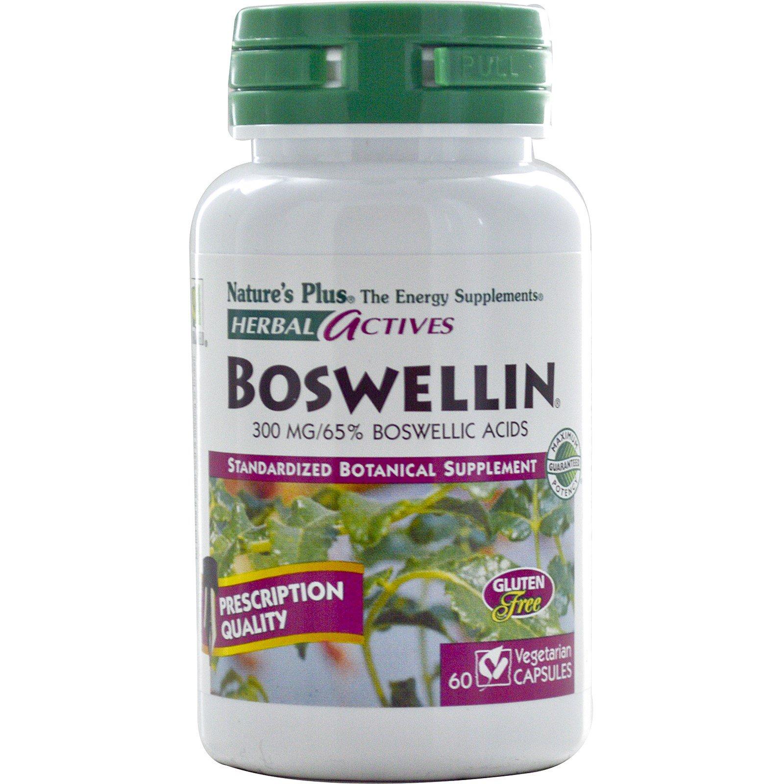 Nature's Plus, «Травяные активные вещества», босвелин, 300 мг, 60 растительных капсул