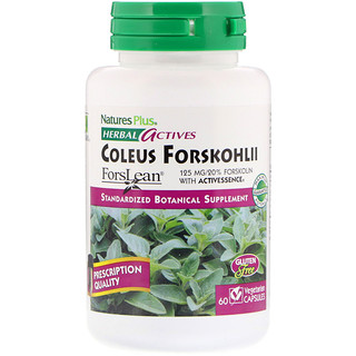 Nature's Plus, Herbal Actives, Coleus Forskohlii, 125 mg, 60 Vegetarian Capsules