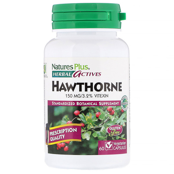 Nature's Plus, Herbal Actives, Hawthorne, 150 mg, 60 Vegetarian Capsules (Discontinued Item)