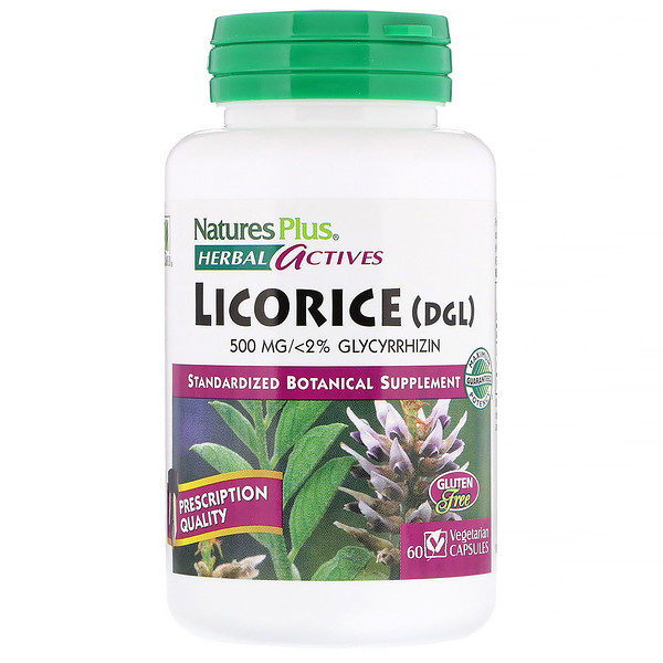 Nature's Plus, Herbal Actives, Licorice (DGL), 500 mg, 60 Vegetarian Capsules
