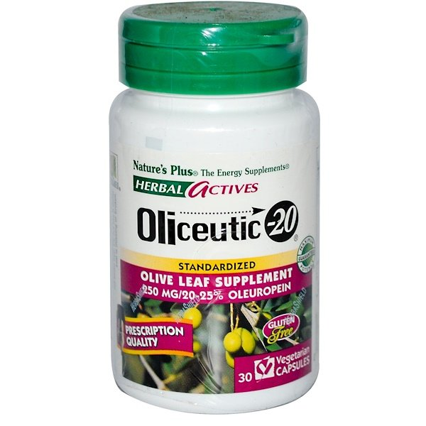 Nature's Plus, Herbal Actives, Oliceutic-20, 250 mg, 30 Veggie Caps (Discontinued Item)