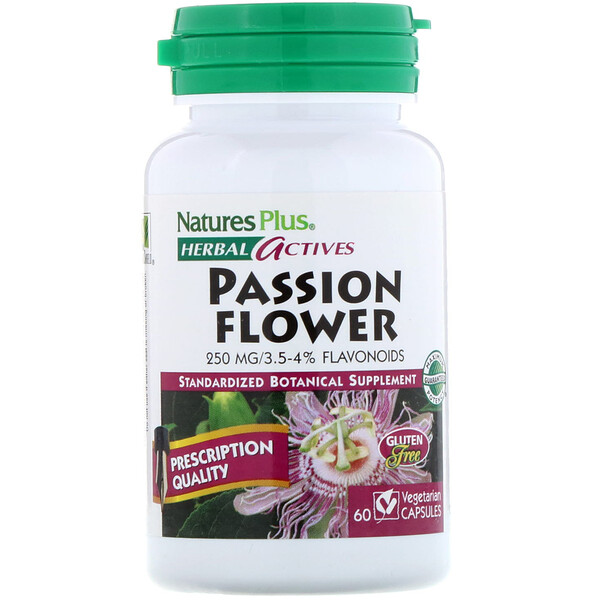 Nature's Plus, Herbal Actives, Passion Flower, 250 mg, 60 Vegetarian Capsules