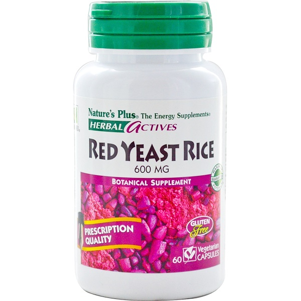 Nature's Plus, Herbal Actives, Red Yeast Rice, 600 mg, 60 Veggie Caps (Discontinued Item)