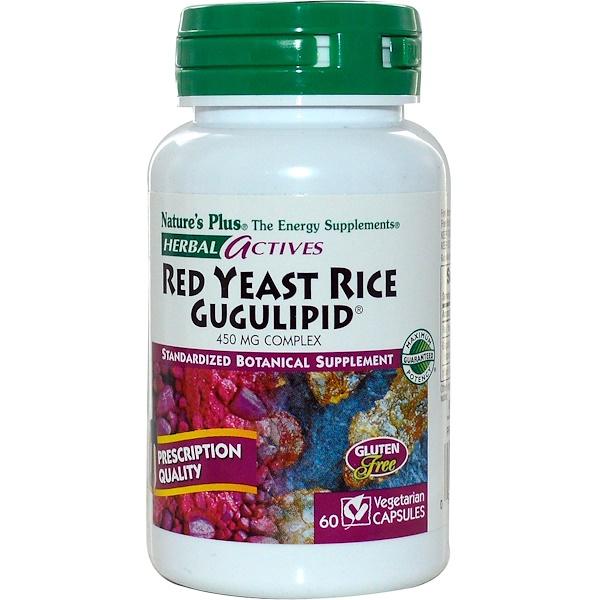 Nature's Plus, Herbal Actives, Red Yeast Rice Gugulipid, 450 mg, 60 Veggie Caps