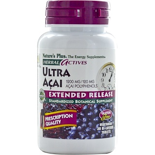 Nature's Plus, Herbal Actives, Ultra Acai, Extended Release, 1200 mg, 30 Bi-Layered Tablets
