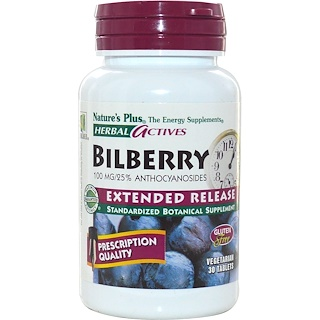 Nature's Plus, Herbal Actives, Bilberry, Extended Release, 100 mg, 30 Veggie Tabs