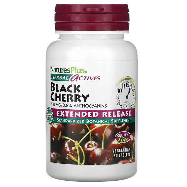 Nature's Plus, Herbal Actives, Black Cherry, 750 mg, 30 Tablets