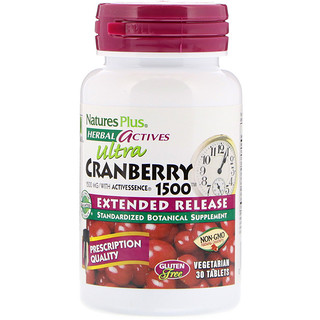 Nature's Plus, Herbal Actives, Ultra Cranberry 1500, 1,500 mcg, 30 Vegetarian Tablets