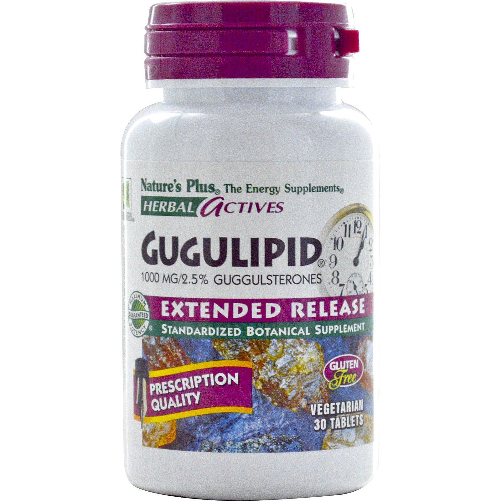 Nature's Plus, Herbal Actives, Gugulipid, с отложенным высвобождением активного вещества, 1000 мг, 30 вегетерианских таблеток
