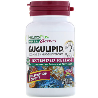 Nature's Plus, Herbal Actives, Gugulipid, Extended Release, 1,000 mg, 30 Vegetarian Tablets