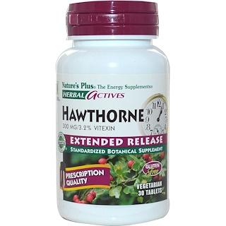 Nature's Plus, Ativos herbais, espinheiro, liberação lenta, 300 mg, 60 cápsulas vegetais
