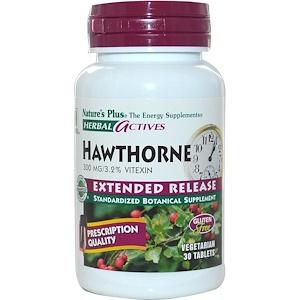 Натурес Плюс, Herbal Actives, Hawthorne, Extended Release, 300 mg, 30 Veggie Tabs отзывы