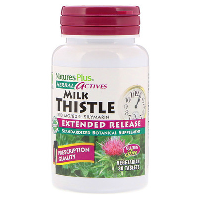 Natures Plus Herbal Actives, Молочный чертополох, с продлённым высвобождением, 500 мг, 30 таблеток