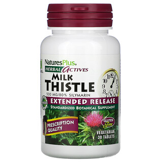 Nature's Plus, Herbal Actives, Milk Thistle, Extended Release, 500 mg, 30 Tablets