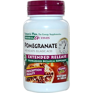 Nature's Plus, Herbal Actives, Pomegranate, Extended Release, 400 mg, 30 Tabs