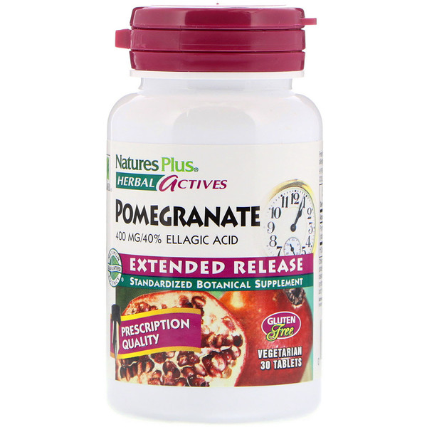 Nature's Plus, Herbal Actives, Pomegranate, Extended Release, 400 mg, 30 Vegetarian Tablets (Discontinued Item)