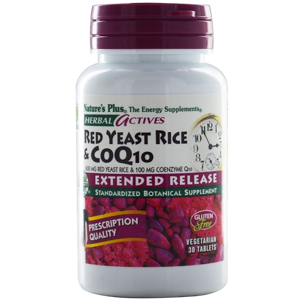 Nature's Plus, Herbal Actives, Red Yeast Rice & CoQ10, 600 mg/100 mg, 30 Tablets (Discontinued Item)