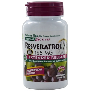 Nature's Plus, Herbal Actives, Resveratrol, 125 mg, 60 Veggie Tabs