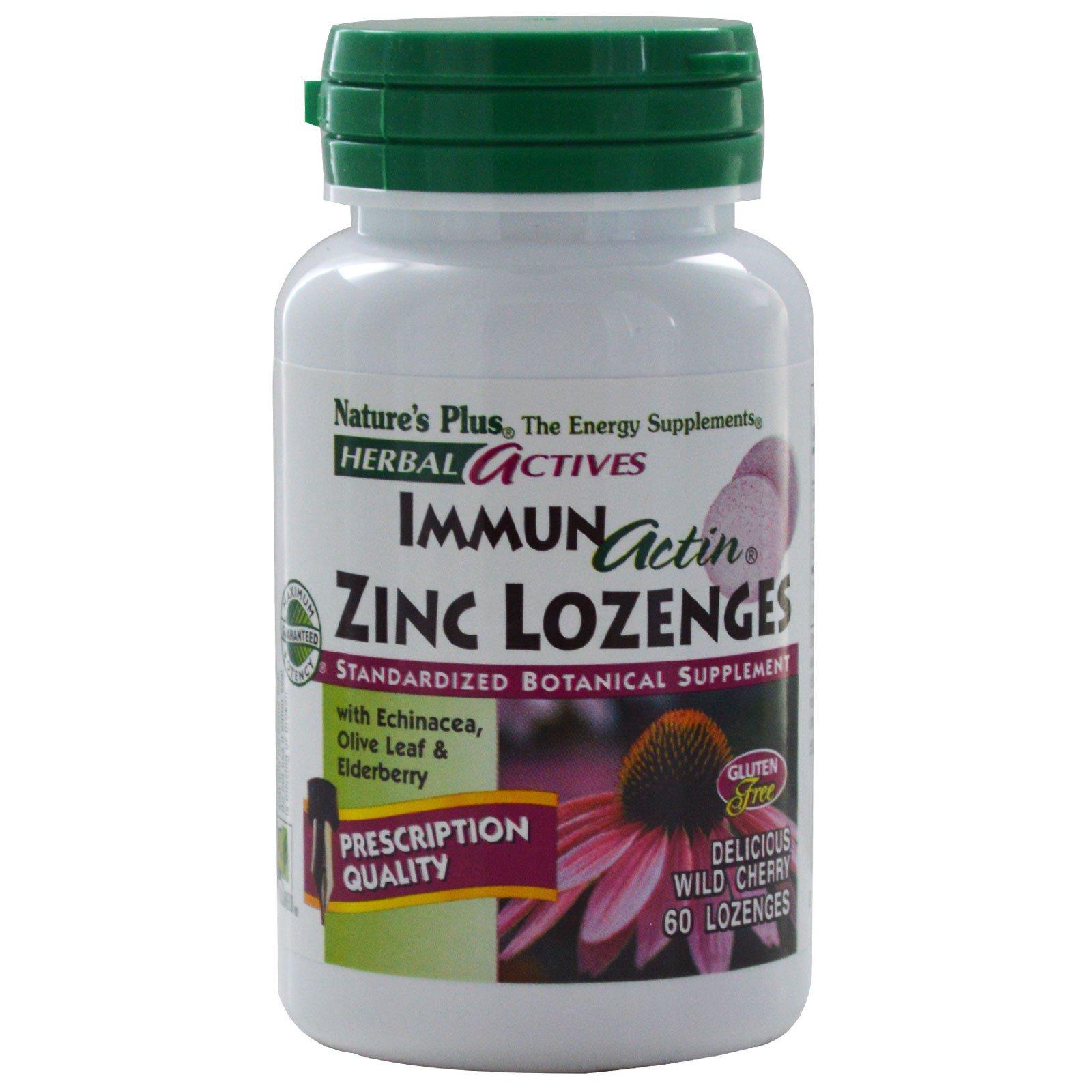 Nature's Plus, «Травяные активные вещества», Immun Actin, пастилки с цинком со вкусом дикой вишни, 60 пастилок