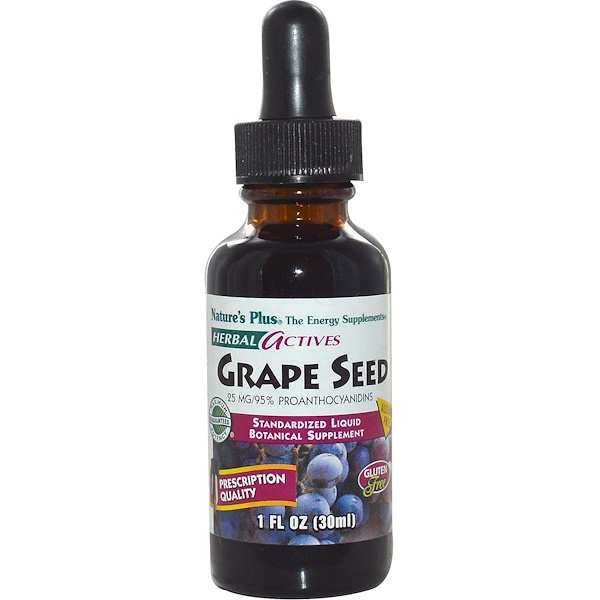 Nature's Plus, Herbal Actives, Косточки винограда, без спирта, 25 мг, 1 жидкая унция (30 мл)