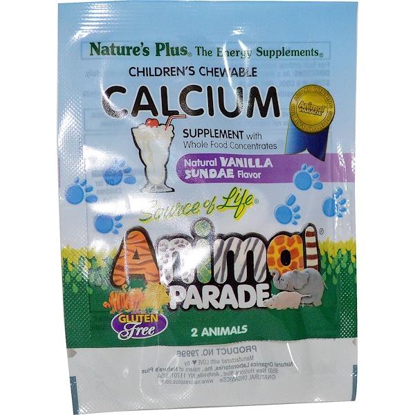 Nature's Plus, Animal Parade, Calcium Supplement, Natural Vanilla Sundae Flavor, 2 Chewable Animals (Discontinued Item)
