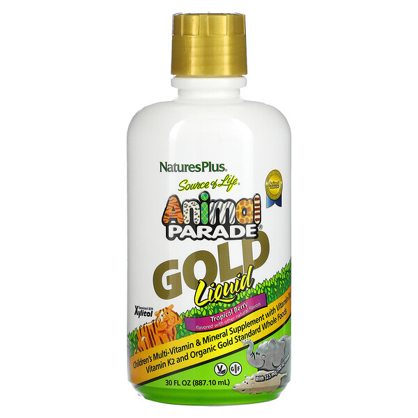 Nature's Plus, SourceofLife, AnimalParadeGold, Suplemento alimentario líquido, Baya tropical, 887,10ml (30oz.líq.)