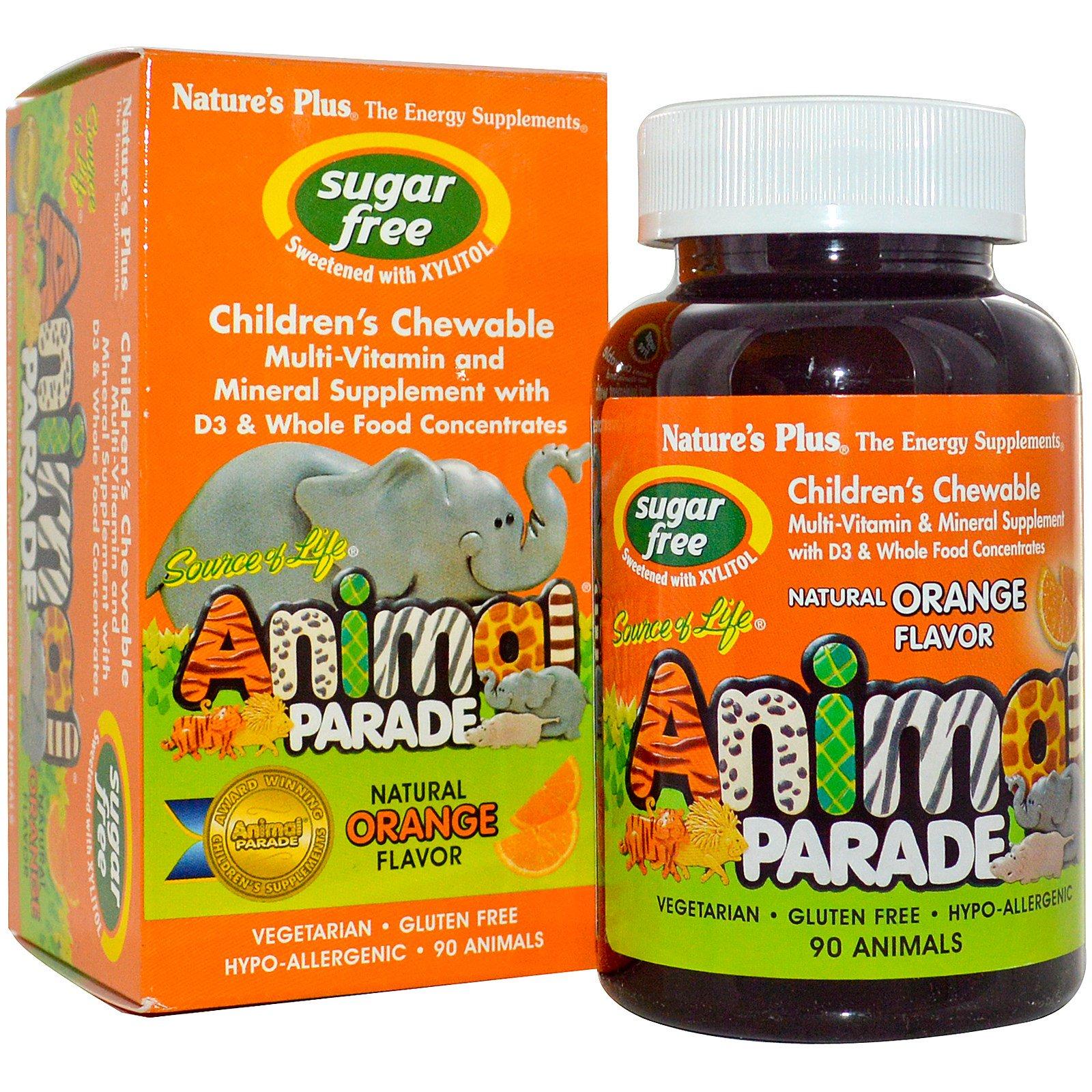 Nature's Plus, Source of Life, Animal Parade, Жевательный витамин для детей, Без Сахара, Натуральный Апельсиновый вкус 90 Animals
