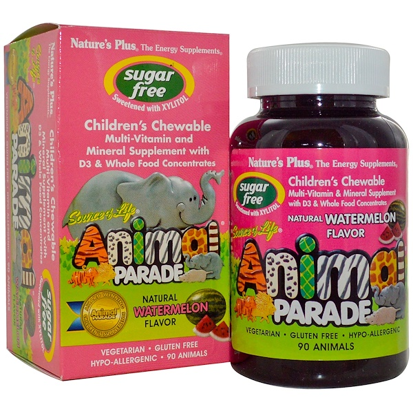 Nature's Plus, Source of Life, Animal Parade, Children's Chewable, Sugar Free, Natural Watermelon Flavor, 90 Animals (Discontinued Item)