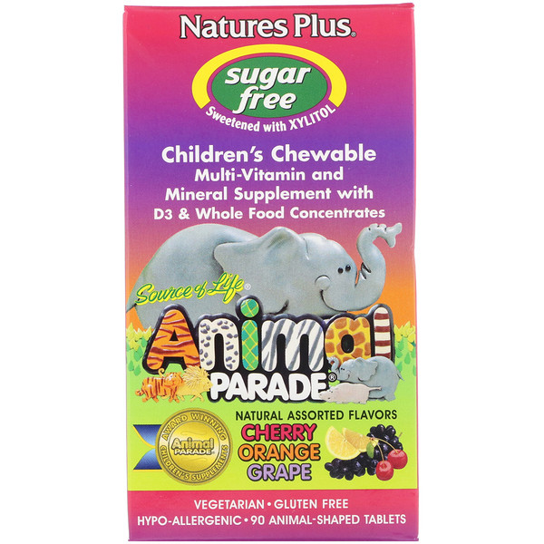 Nature's Plus, Source of Life, Animal Parade, Children's Chewable, Natural Assorted Flavors, 90 Animals