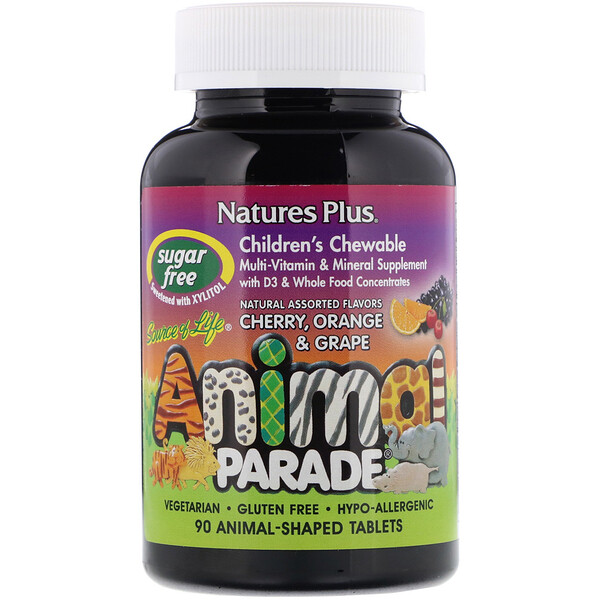 Source of Life, Animal Parade, Children's Chewable Multi-Vitamin and Mineral Supplement, Natural Assorted Flavors, 90 Animal-Shaped Tablets