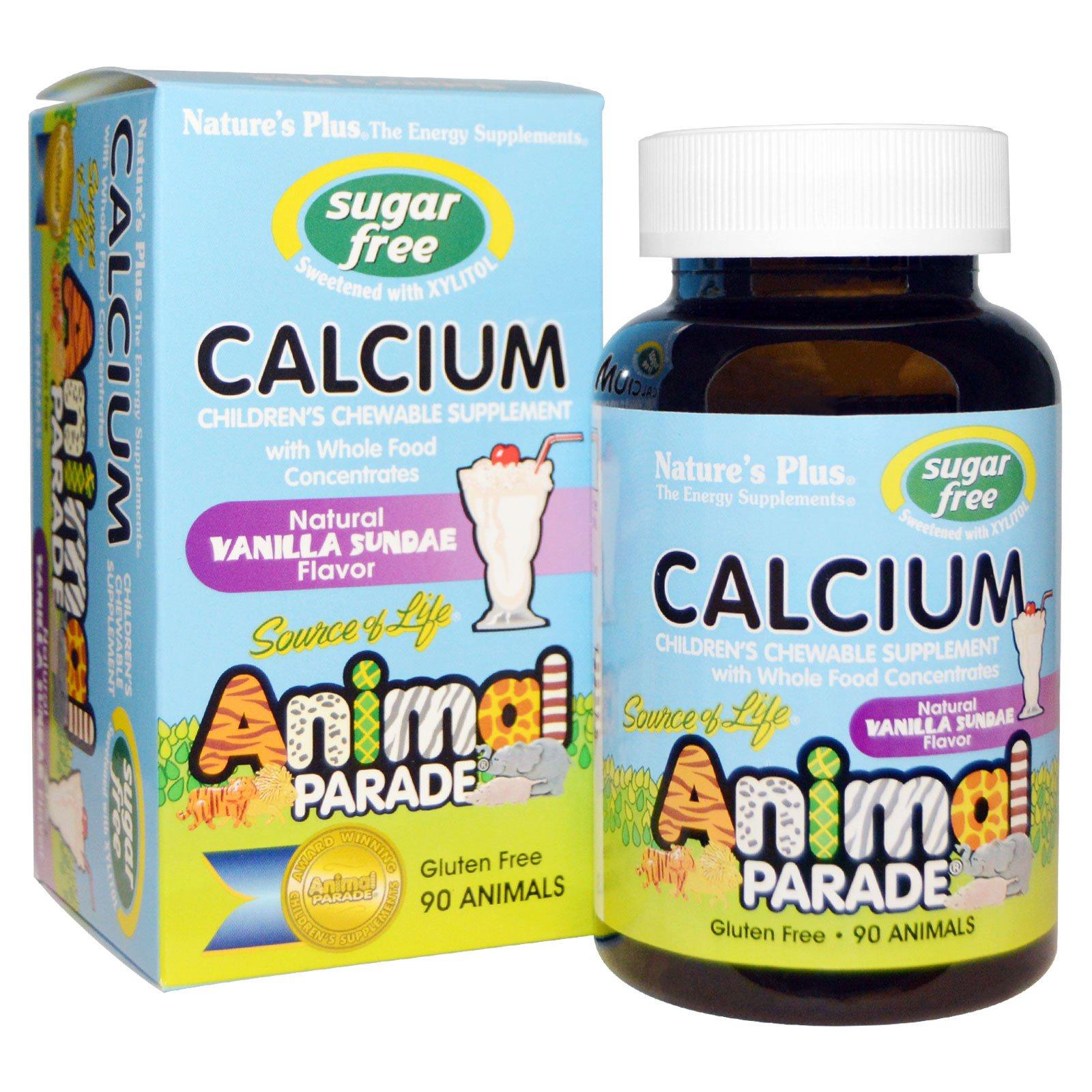 Nature's Plus, Источник Жизни, парад животных, кальций, без сахара, натуральный вкус ванильного мороженого, 90 жевательных таблеток