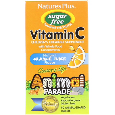 Source of Life, Animal Parade, Vitamin C, Children's Chewable Supplement, Sugar Free, Natural Orange Juice Flavor, 90 Animal-Shaped Tablets