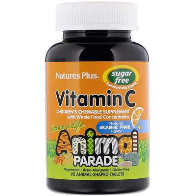 Купить Nature's Plus Source of Life, Animal Parade, витамин C, жевательная добавка без сахара для детей, вкус натурального апельсинового сока, 90 таблеток в форме животных
