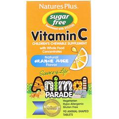 Nature's Plus, ソース・オブ・ライフ(生命の源)、アニマルパレード、ビタミンC、子ども用チュアブルサプリメント、無糖、天然オレンジジュース風味、動物型錠剤90錠