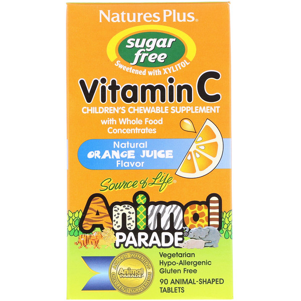 Nature's Plus, Source of Life, Animal Parade, Vitamin C, Children's Chewable Supplement, Sugar Free, Natural Orange Juice Flavor, 90 Animal-Shaped Tablets