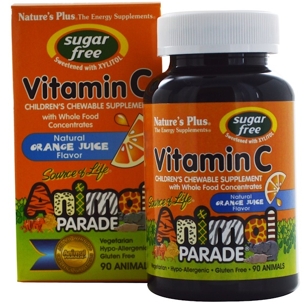 Nature's Plus, Source of Life, Animal Parade, Vitamin C, Sugar Free, Natural Orange Juice Flavor, 90 Animals