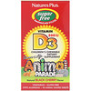 Nature's Plus, Source of Life, Animal Parade, Vitamin D3, Sugar Free, Natural Black Cherry Flavor, 500 IU, 90 Animal-Shaped Tablets