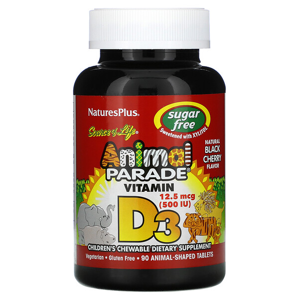 Source of Life, Animal Parade, Vitamina D3, Sin azúcar, Cereza negra natural, 12,5 mcg (500 UI), 90 comprimidos con forma de animales