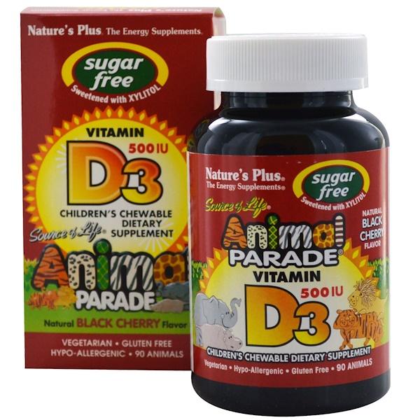 Nature's Plus, Источник жизни, Парад животных, Витамин D3, без сахара, Натуральный вкус черешни, 500 МЕ, 90 животных