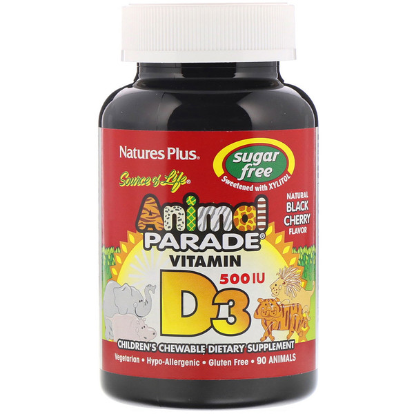 Source of Life, Animal Parade, Vitamina D3, sin azúcar, sabor cereza negra natural, 500 IU, 90 Animales