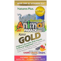Парад зверей Gold от Source of Life, мультивитаминная жевательная добавка для детей с минералами, ассорти из натуральных ароматизаторов, 120 таблеток в форме животных - фото