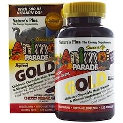 Nature's Plus, Source of Life Animal Parade Gold, Kaubares Multivitamin & Mineral Ergänzungsmittel für Kinder, verschiedene natürliche Geschmacksrichtungen, 120 Tiere