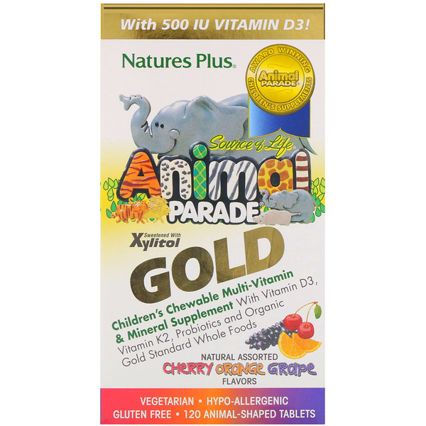 Nature's Plus, Source of Life, Animal Parade Gold, Suplemento masticable mineral y multivitamínico, Para niños, Sabores naturales surtidos, 120 comprimidos con forma de animales
