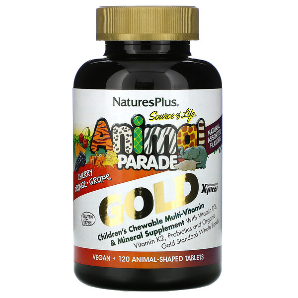 Nature's Plus, Source of Life, Animal Parade Gold, Suplemento multivitamínico y mineral masticable para niños, Sabores naturales surtidos, 120 comprimidos con forma de animales