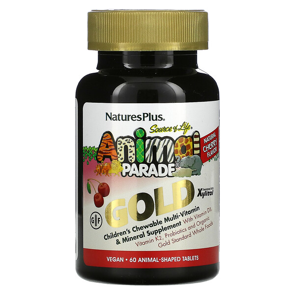 Source of Life, Animal Parade, Gold, Children's Chewable Multi-Vitamin & Mineral Supplement, Cherry, 60 Animal-Shaped Tablets