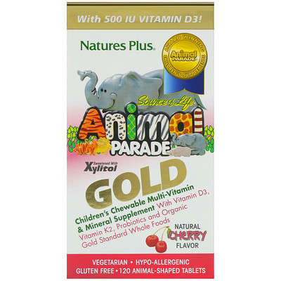 Source of Life, Animal Parade Gold, Childrens Chewable Multi-Vitamin & Mineral Supplement, Natural Cherry Flavor, 120 Animal-Shaped Tablets
